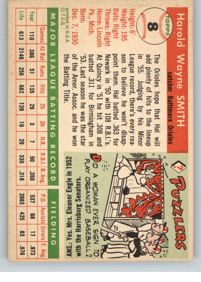 1955 Topps #8 Harold Smith RC back image