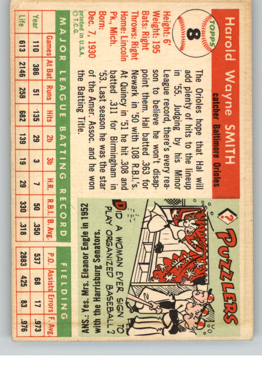 1955 Topps #8 Harold Smith RC back image