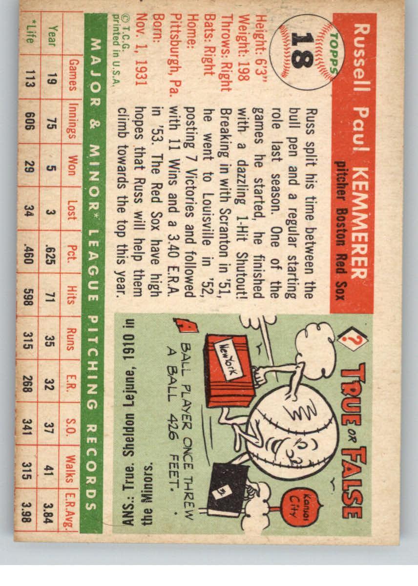 1955 Topps #18 Russ Kemmerer RC back image