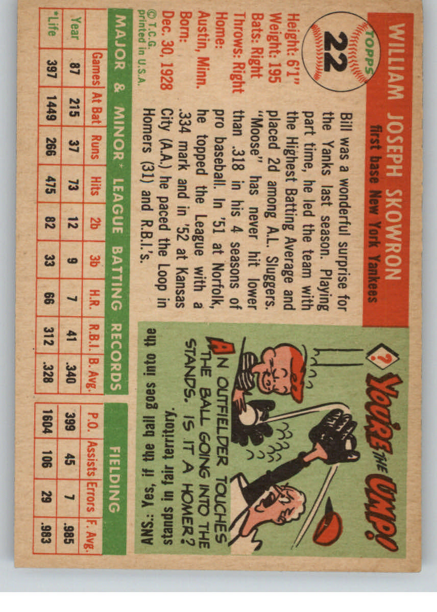 1955 Topps #22 Bill Skowron back image