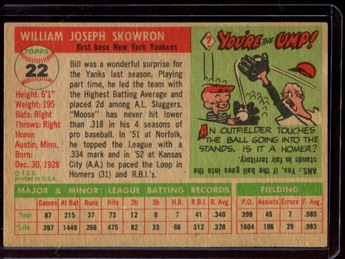 1955 Topps #22 Bill Skowron back image