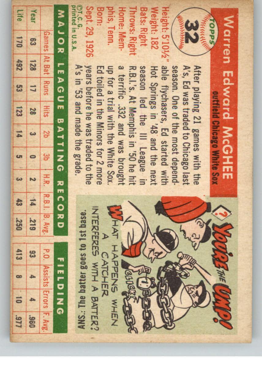 1955 Topps #32 Warren McGhee back image