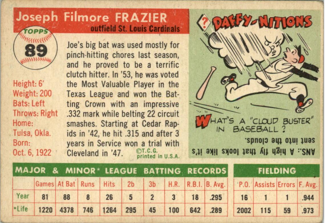 1955 Topps #89 Joe Frazier RC back image