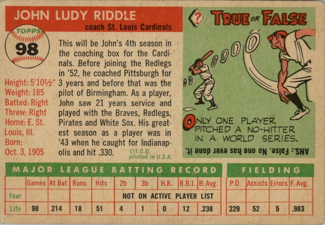 1955 Topps #98 John Riddle CO back image