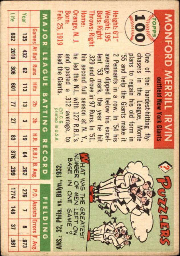 1955 Topps #100 Monte Irvin back image