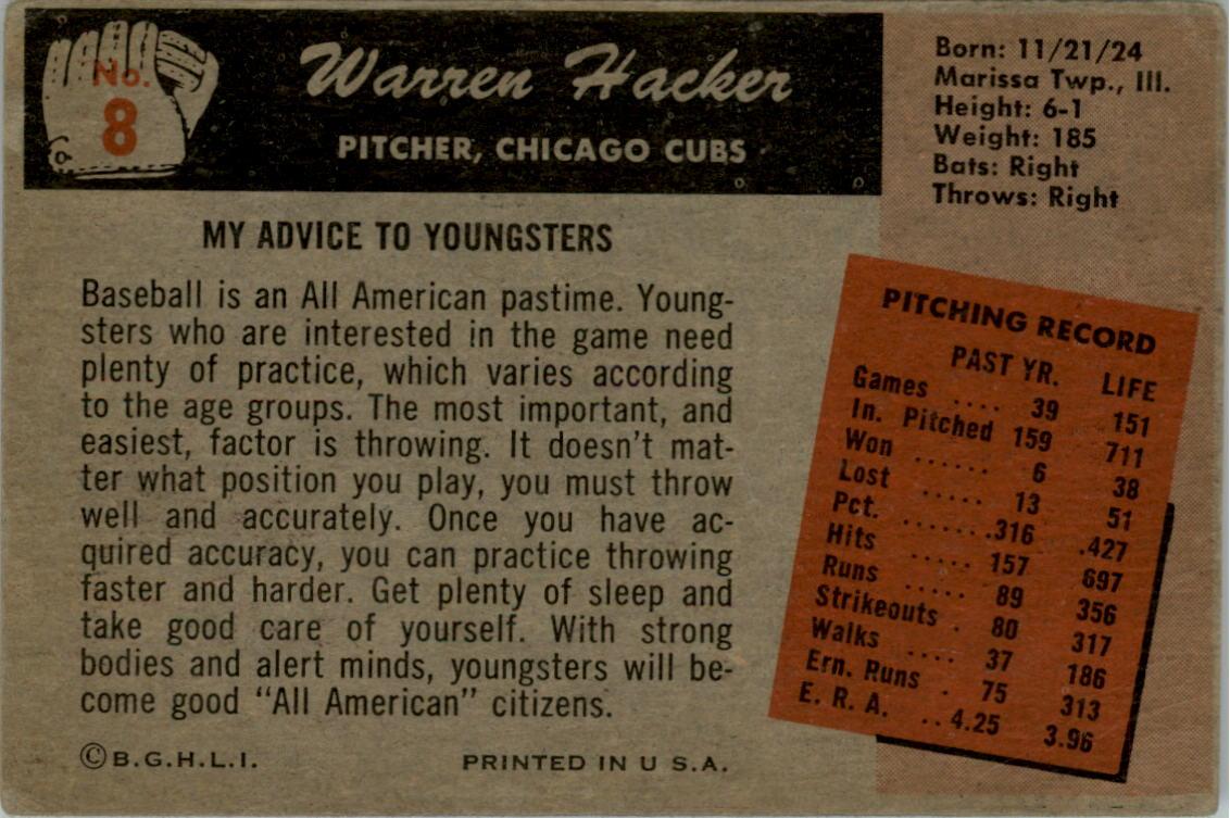 1955 Bowman #8 Warren Hacker back image