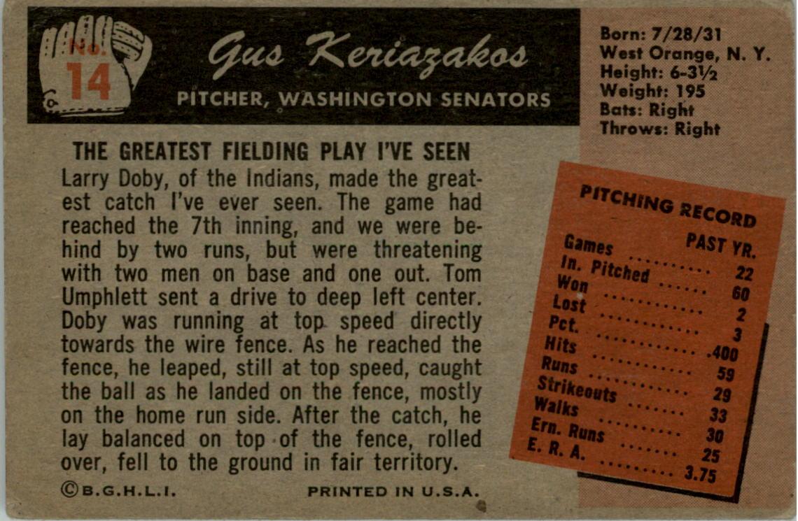 1955 Bowman #14 Gus Keriazakos RC back image