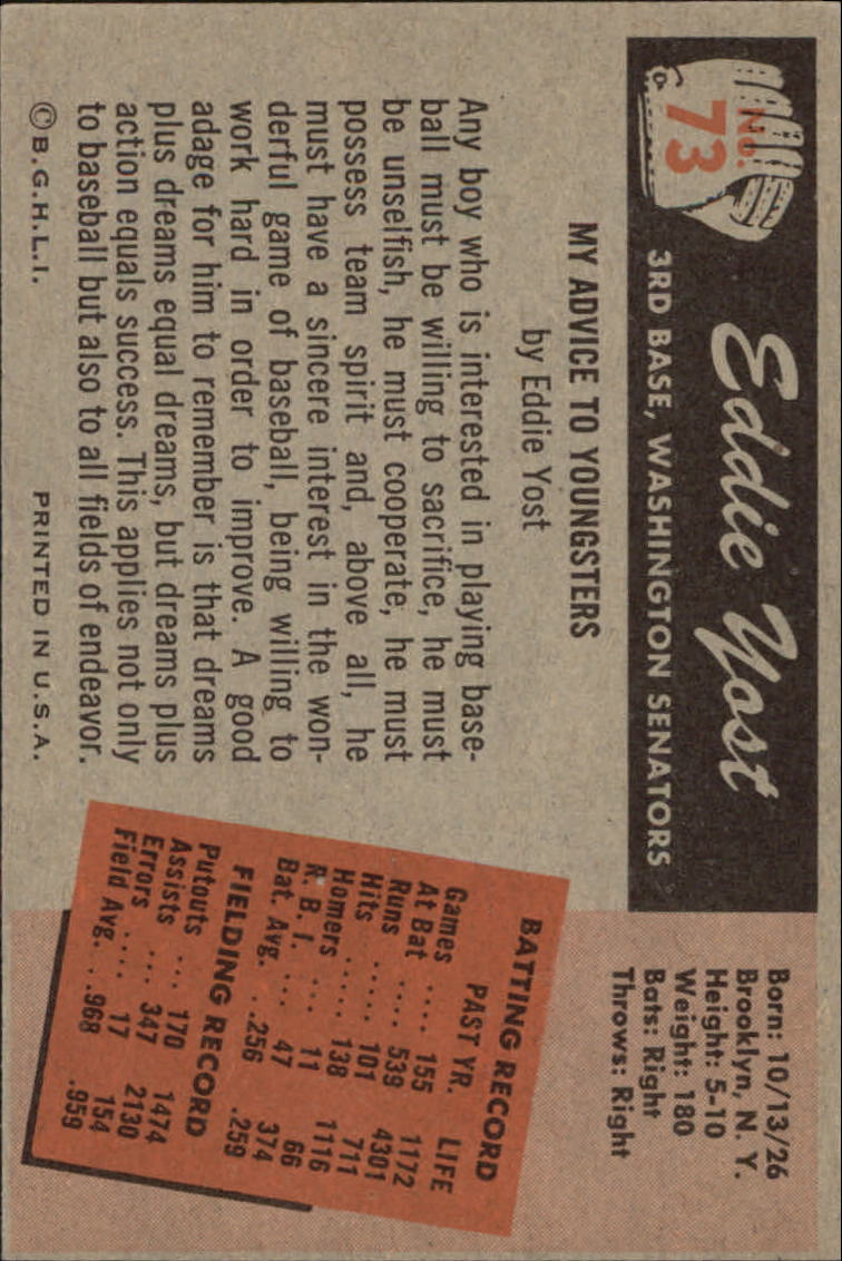 1955 Bowman #73 Eddie Yost back image