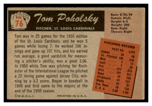 1955 Bowman #76 Tom Poholsky back image