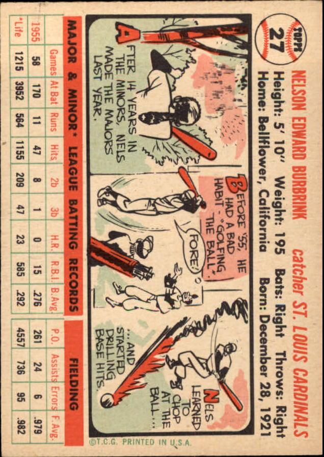 1956 Topps #27 Nelson Burbrink DP RC back image