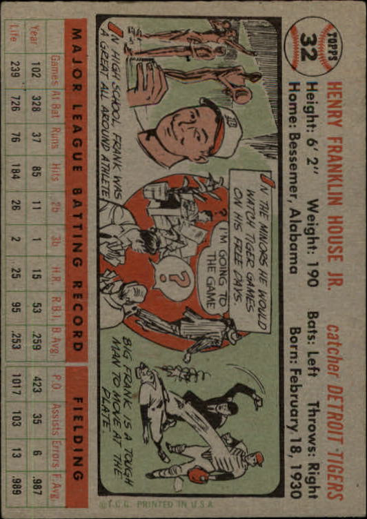 1956 Topps #32A Frank House GB back image