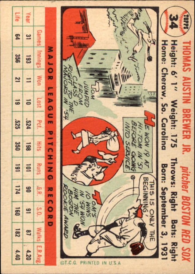 1956 Topps #34 Tom Brewer DP back image