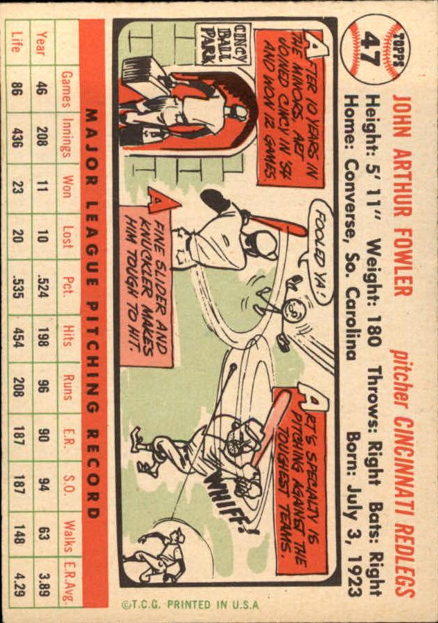 1956 Topps #47 Art Fowler back image