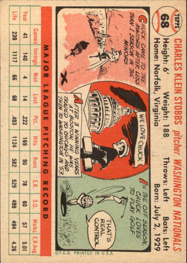 1956 Topps #68 Chuck Stobbs back image