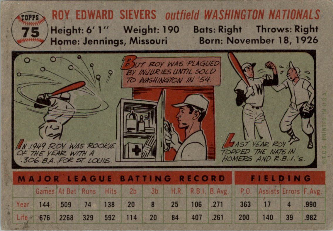 1956 Topps #75A Roy Sievers GB back image