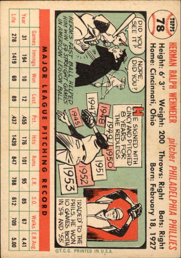 1956 Topps #78 Herman Wehmeier back image