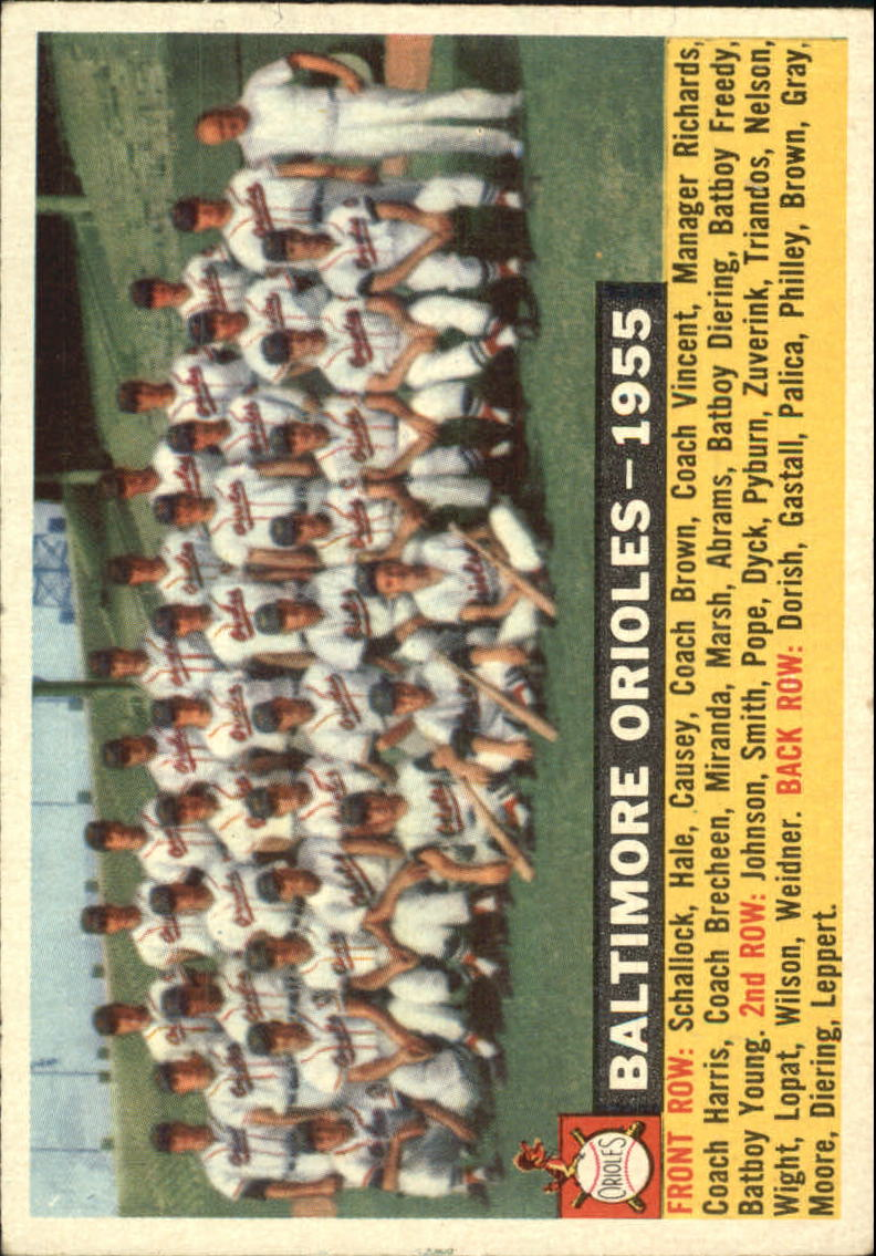 1956 Topps #100B Baltimore Orioles TC/Dated 1955