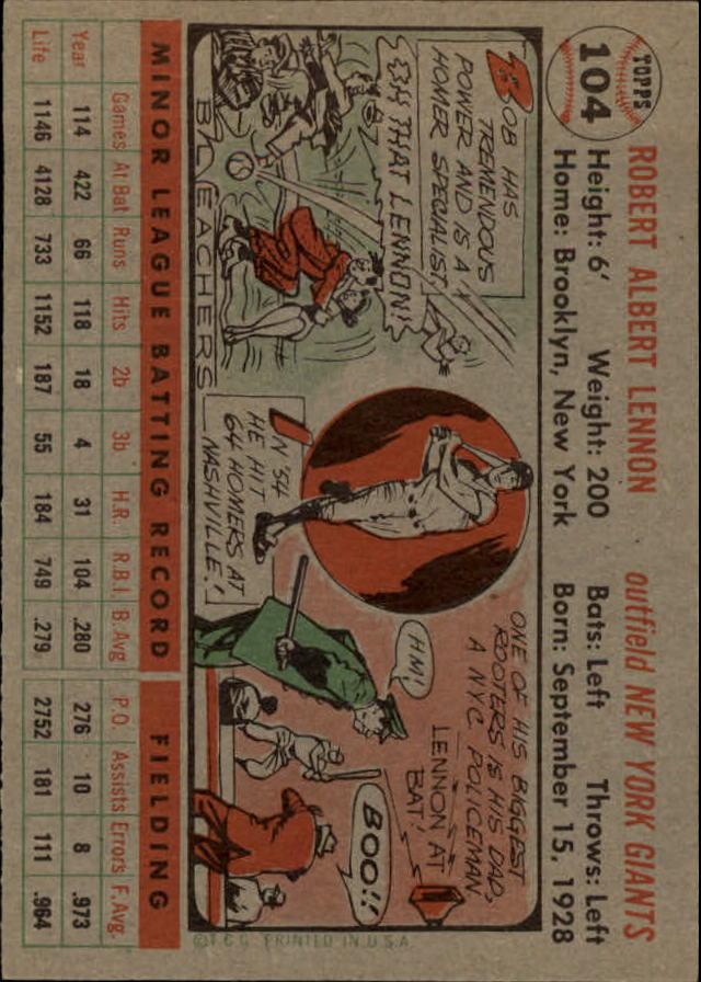 1956 Topps #104 Bob Lennon back image