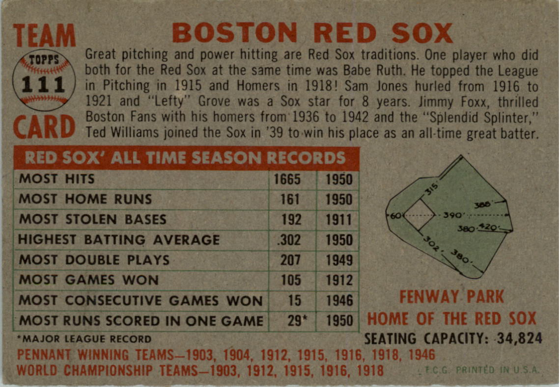 1956 Topps #111 Boston Red Sox TC back image