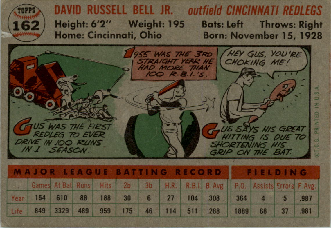 1956 Topps #162 Dave Gus Bell back image