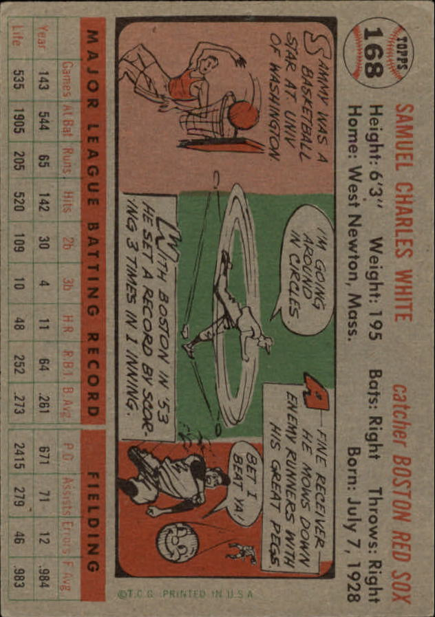 1956 Topps #168 Sammy White back image