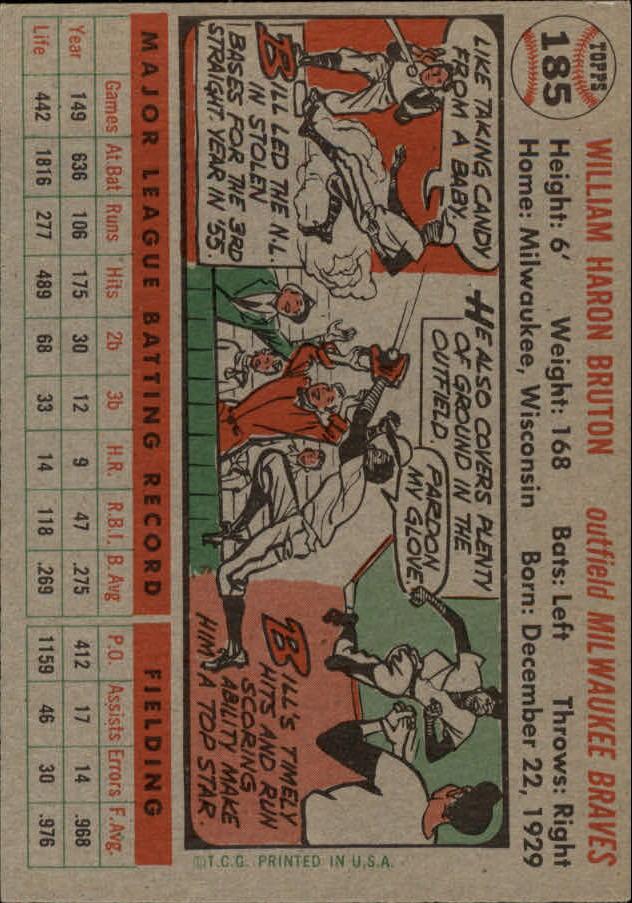 1956 Topps #185 Bill Bruton back image