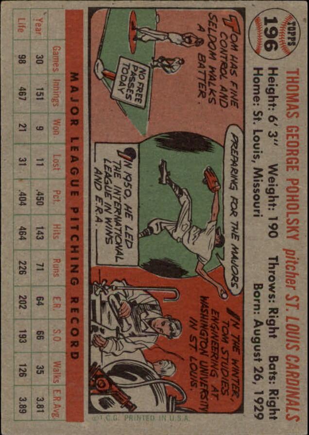 1956 Topps #196 Tom Poholsky back image