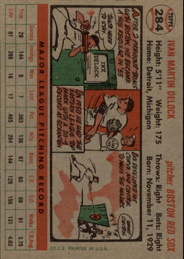 1956 Topps #284 Ike Delock back image