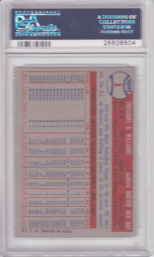 1957 Topps #1 Ted Williams back image