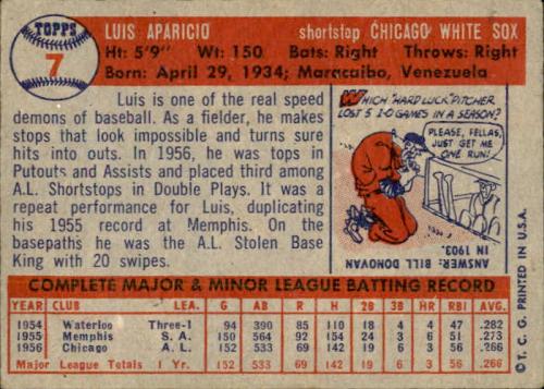 1957 Topps #7 Luis Aparicio back image