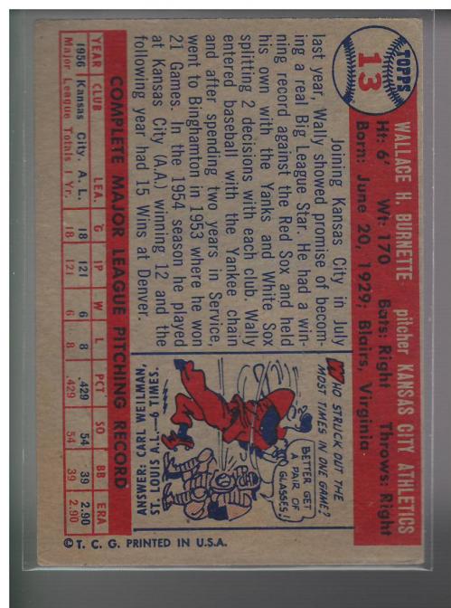 1957 Topps #13 Wally Burnette RC back image