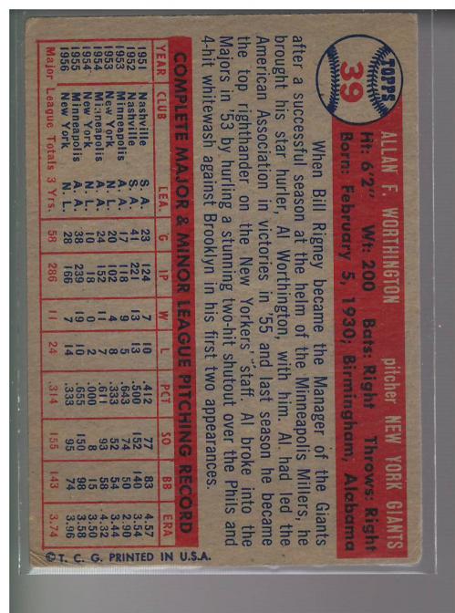 1957 Topps #39 Al Worthington RC back image