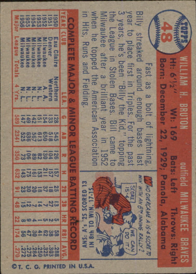 1957 Topps #48 Bill Bruton back image
