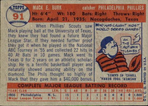 1957 Topps #91 Mack Burk RC back image
