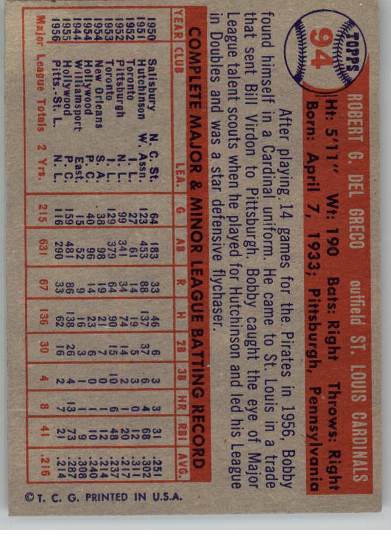 1957 Topps #94 Bobby Del Greco back image
