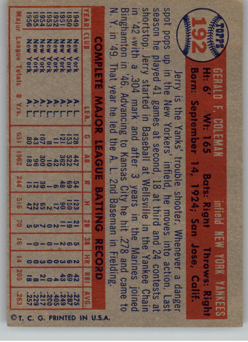 1957 Topps #192 Jerry Coleman back image