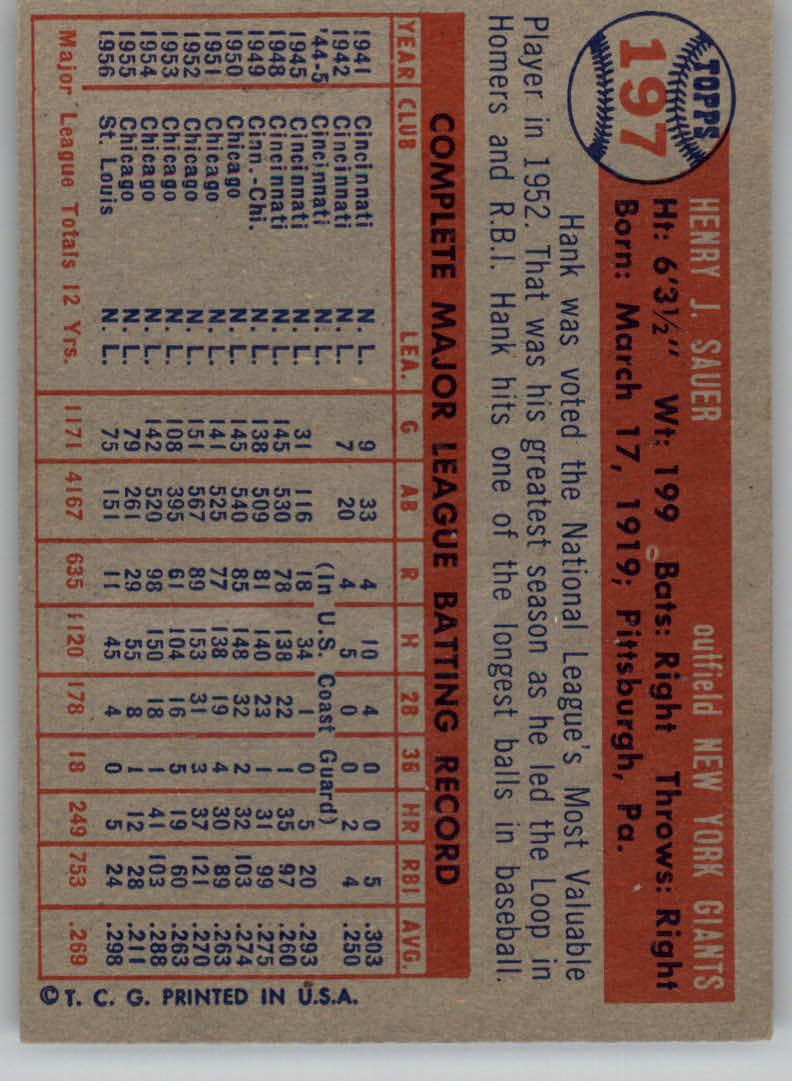 1957 Topps #197 Hank Sauer back image