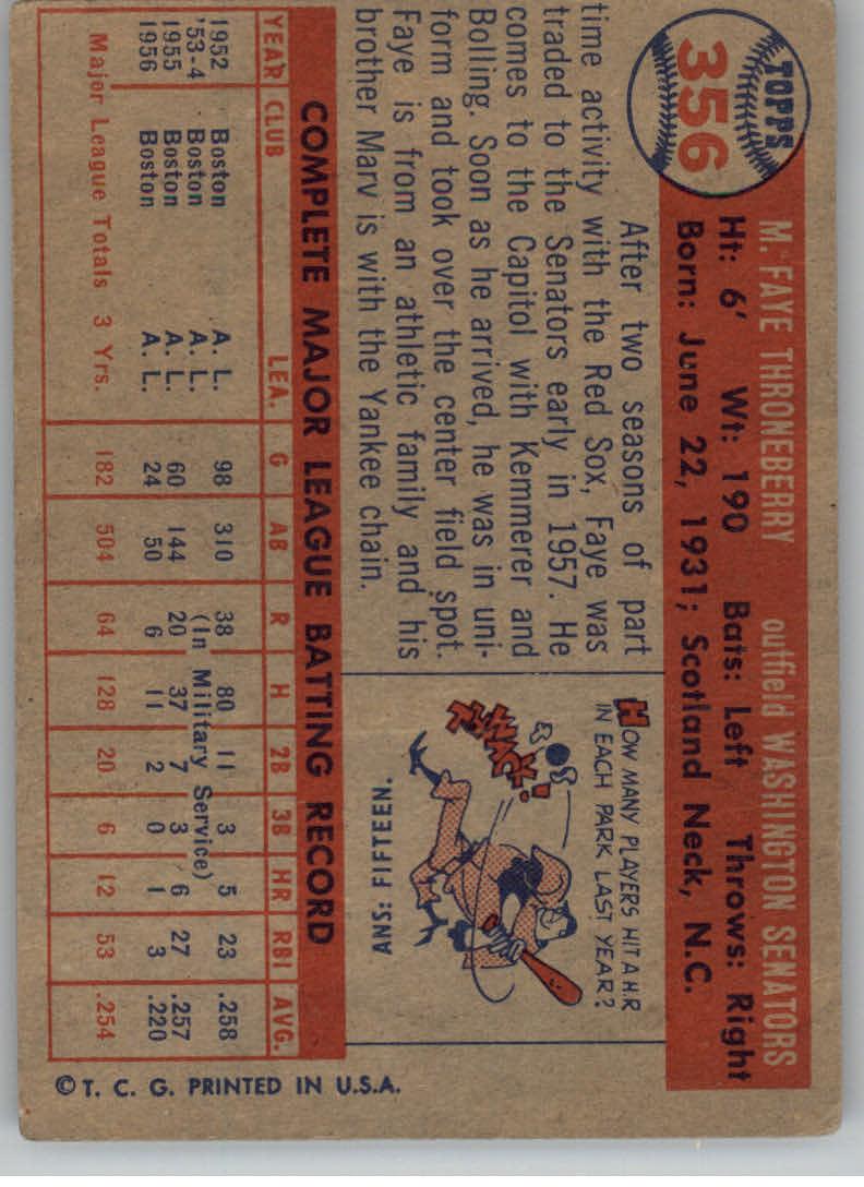 1957 Topps #356 Faye Throneberry back image