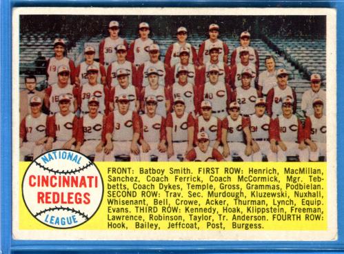1958 Topps #428A Cincinnati Reds TC/Alphabetical