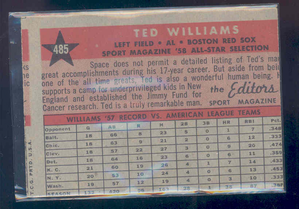 1958 Topps #485 Ted Williams AS back image