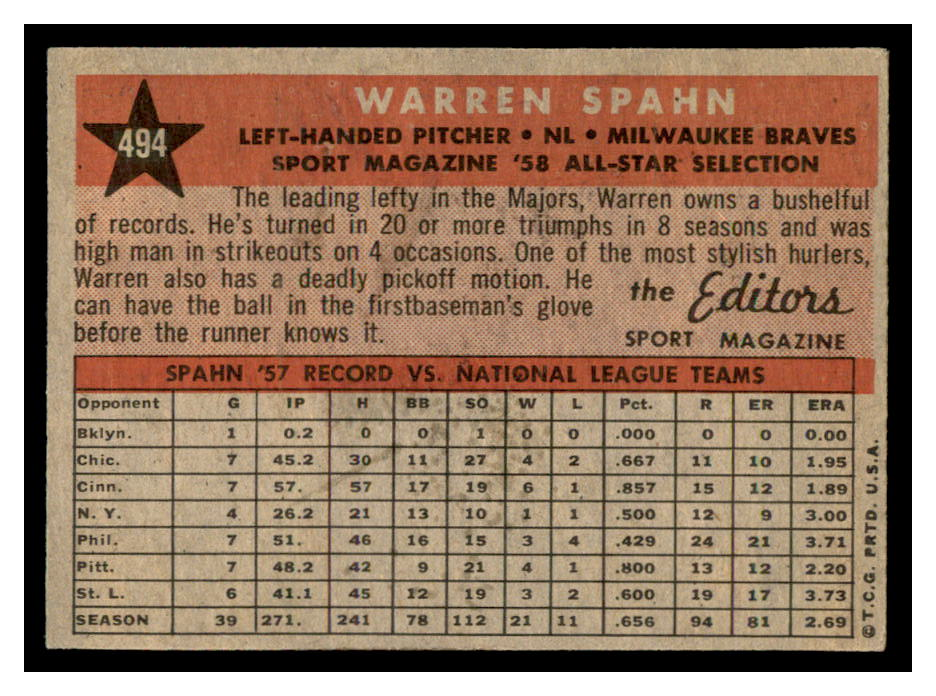 1958 Topps #494 Warren Spahn AS back image