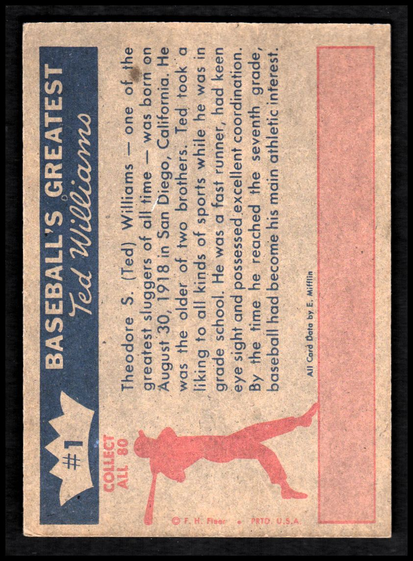 1959 Fleer Ted Williams #1 The Early Years back image