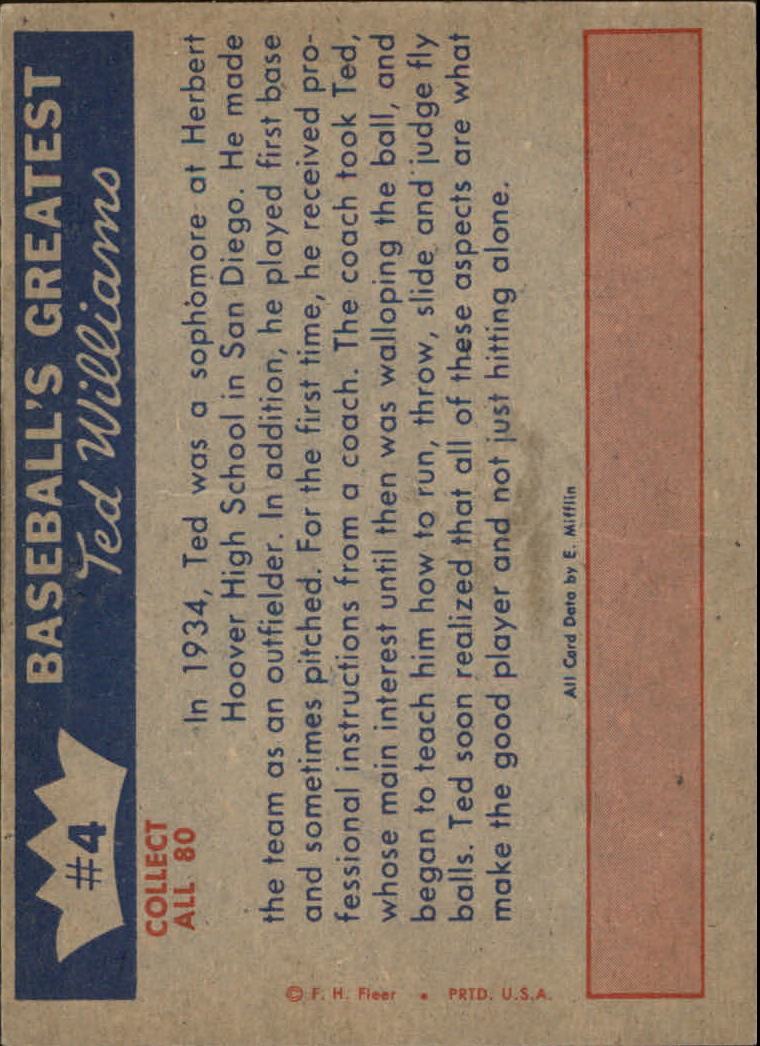1959 Fleer Ted Williams #4 Learns Fine Points back image