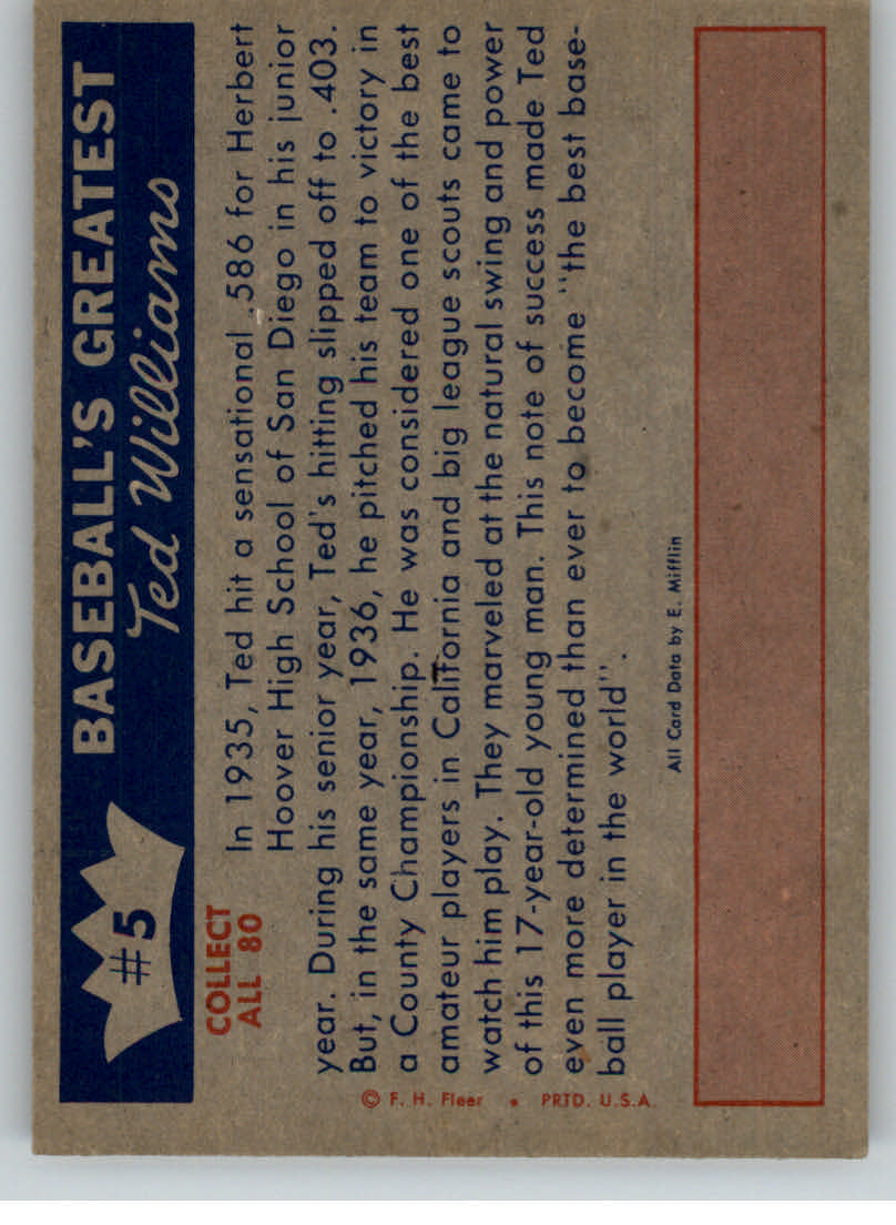 1959 Fleer Ted Williams #5 Ted's Fame Spreads back image
