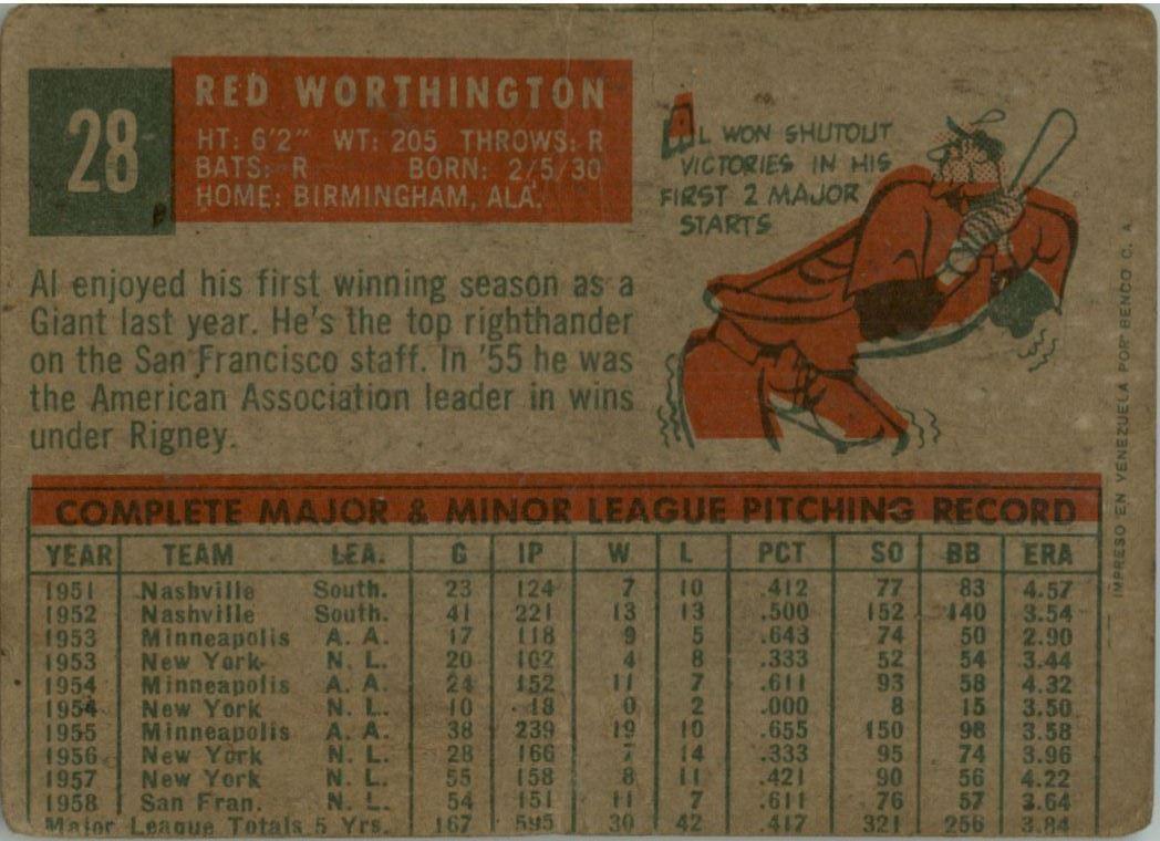 1959 Topps Venezuelan #28 Al Worthington back image