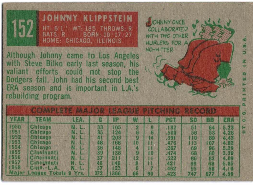 1959 Topps #152 Johnny Klippstein back image