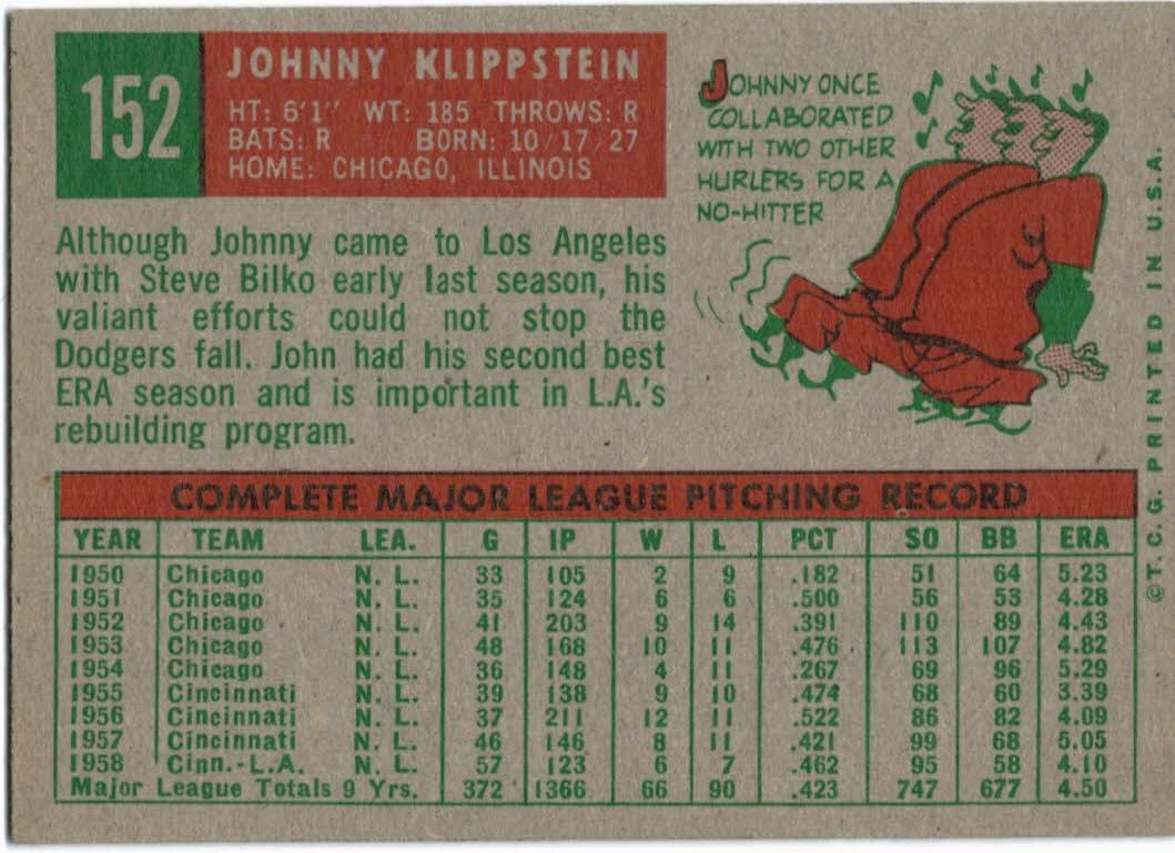 1959 Topps #152 Johnny Klippstein back image