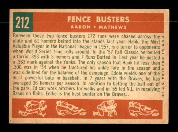 1959 Topps #212 Fence Busters/Hank Aaron/Eddie Mathews back image