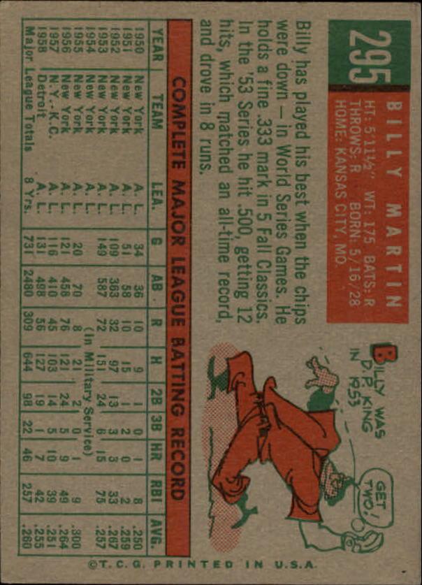 1959 Topps #295 Billy Martin back image