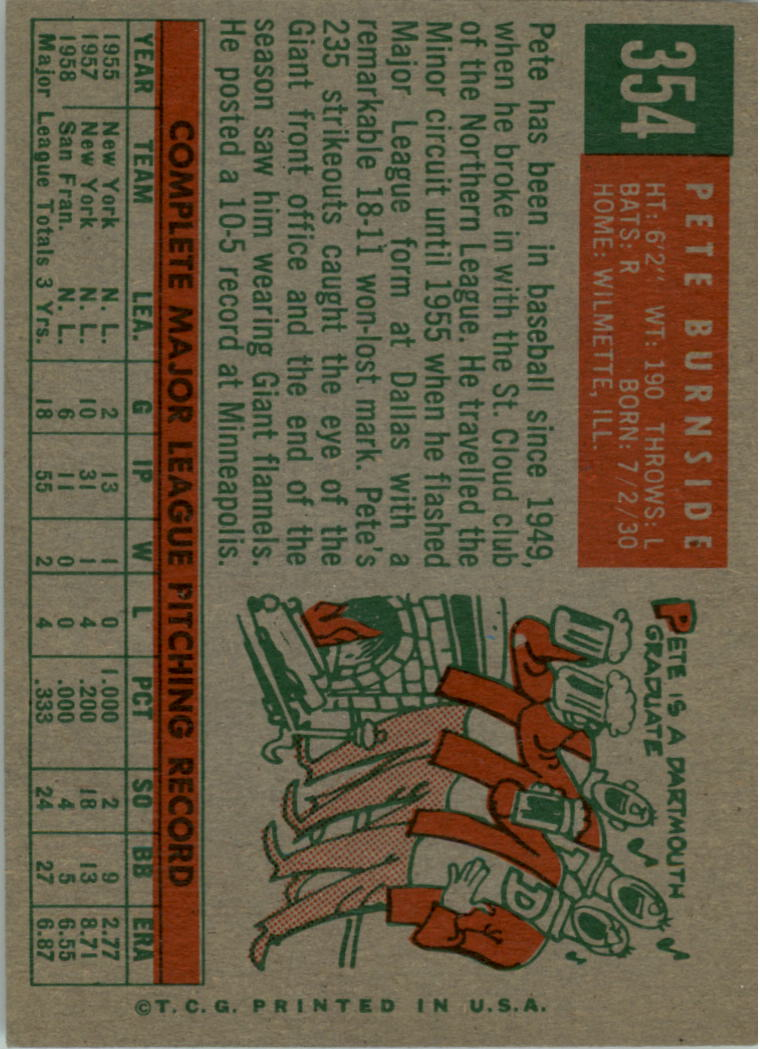 1959 Topps #354 Pete Burnside back image